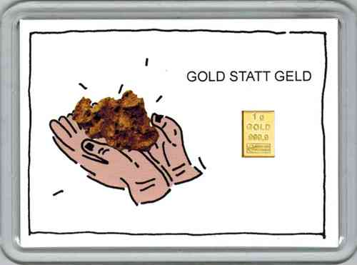 1g Goldbarren in Motivbox, GOLD statt Geld