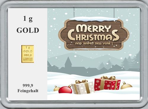 "1g Goldbarren in Motivbox, ""Merry Christmas"" (02)"