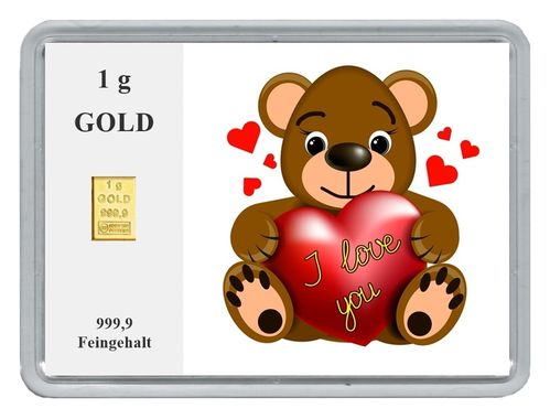 "1g Goldbarren in Motivbox, ""I love you"" (05)"