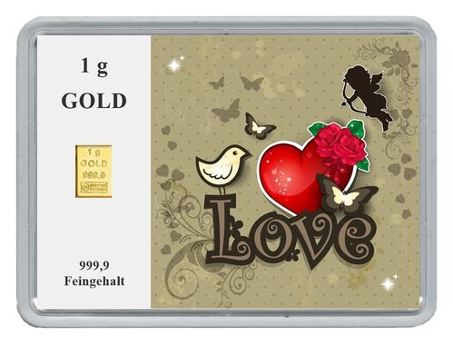 "1g Goldbarren in Motivbox, ""Love"" (02)"