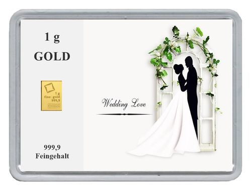 "1g Goldbarren in Motivbox, ""Wedding Love"""