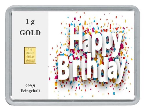 "1g Goldbarren in Motivbox, ""Happy Birthday (Konfetti)"""