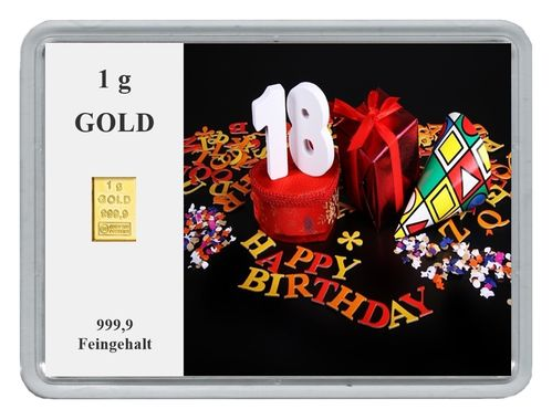 "1g Goldbarren in Motivbox, ""18. Happy Birthday"""