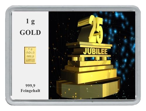 "1g Goldbarren in Motivbox, ""25. Jubilee"""