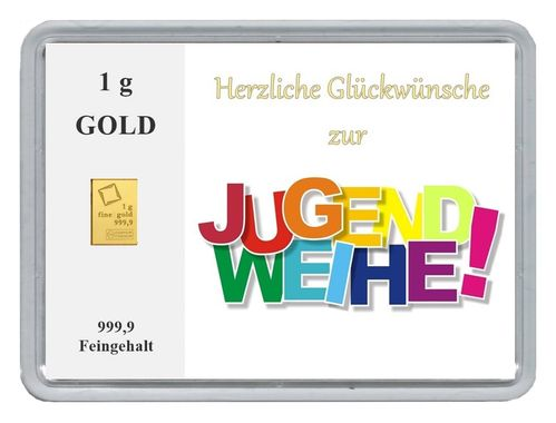 "1g Goldbarren in Motivbox ""Jugendweihe (New Edition)"""