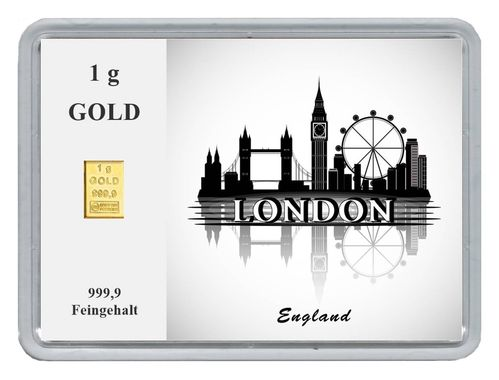"1g Goldbarren in Motivbox ""Städte der Welt-London"""