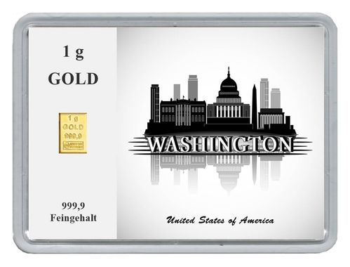 "1g Goldbarren in Motivbox ""Städte der Welt-Washington"""