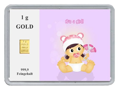 New Edition 1g Goldbarren in Motivbox, Baby its a girl