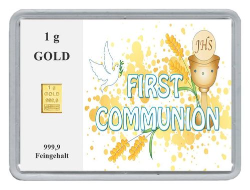 "1g Goldbarren in Motivbox, ""First Communion"""