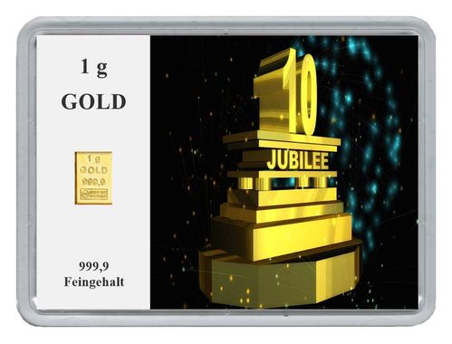 "1g Goldbarren in Motivbox, ""10. Jubilee"""