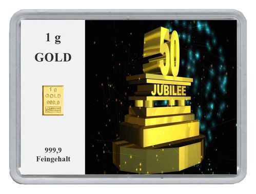 "1g Goldbarren in Motivbox, ""50. Jubilee"""